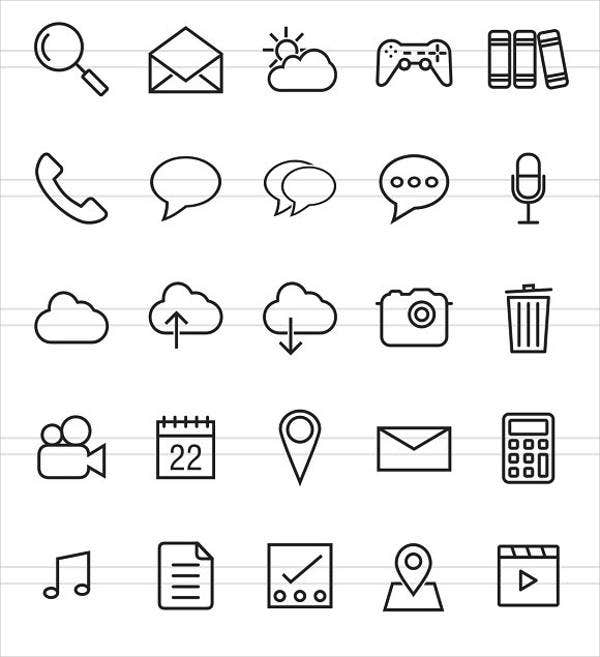 mobile app lines icons