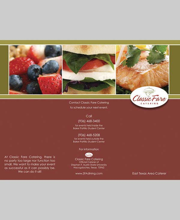 classic corporate catering brochure
