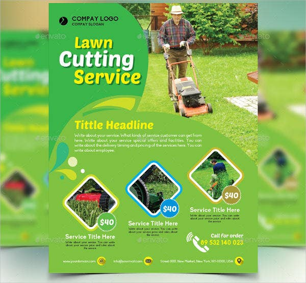 Gardener Mowing Lawn Mower Flyer