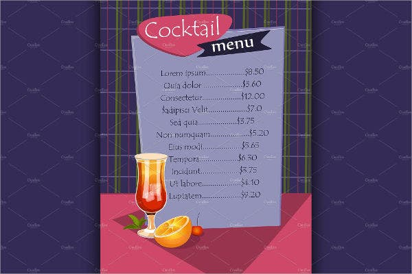 Cocktail Party Drink Menu Template