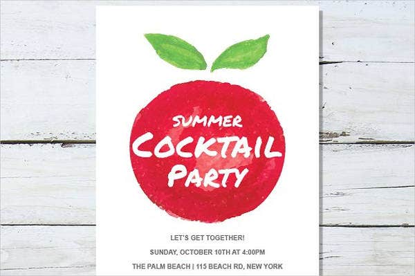 Summer Cocktail Party Menu Design