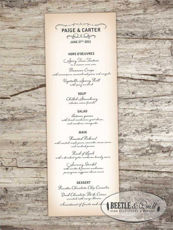Garden Cocktail Party Menu Template