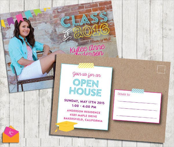 Graduation Open House Invitation Postcard