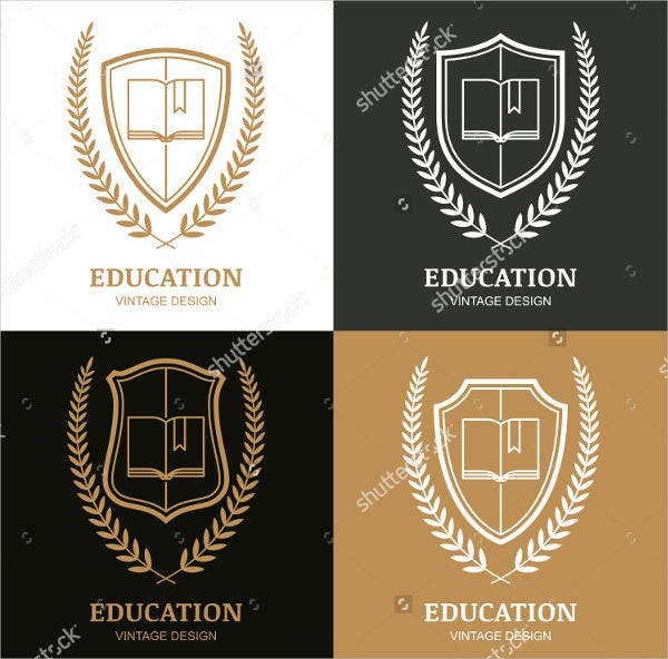vintage college education logo