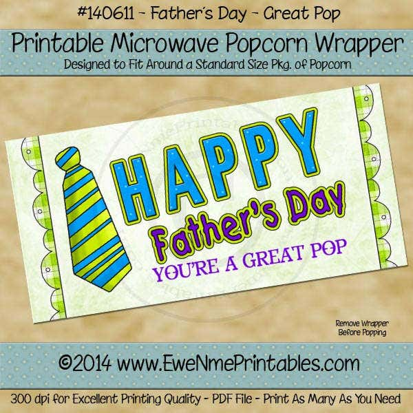 Father's Day Popcorn Wrapper Template