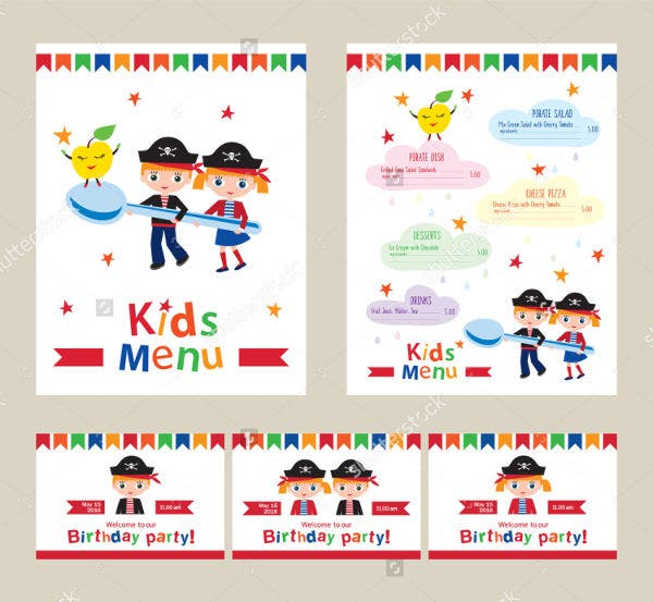 Children's Birthday Party Menu Template