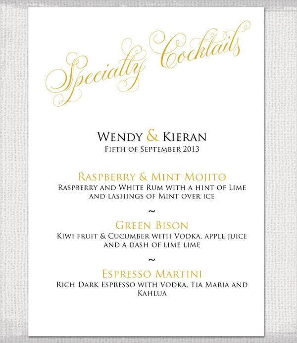 Wedding Cocktail Party Menu Template