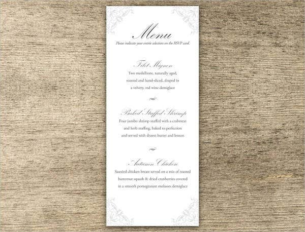Wedding Tea Party Menu Design