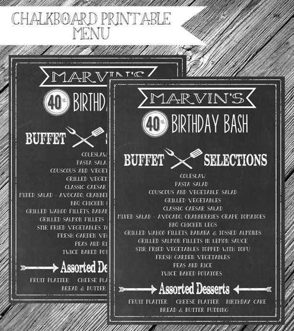birthday bbq party menu template