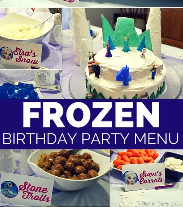frozen birthday party menu design