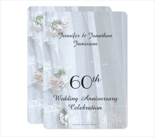 60th Wedding Party Menu Design