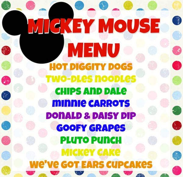 Mickey Mouse Birthday Party Menu Template