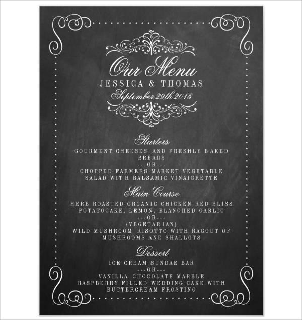 vintage wedding party menu template
