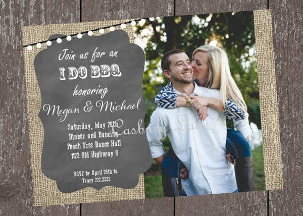 burlap engagement invitation banner