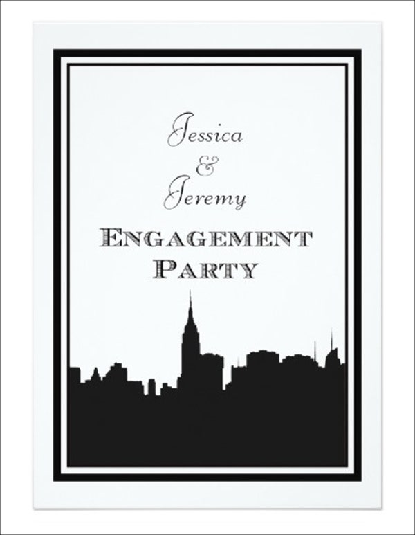 black and white engagement invitation banner