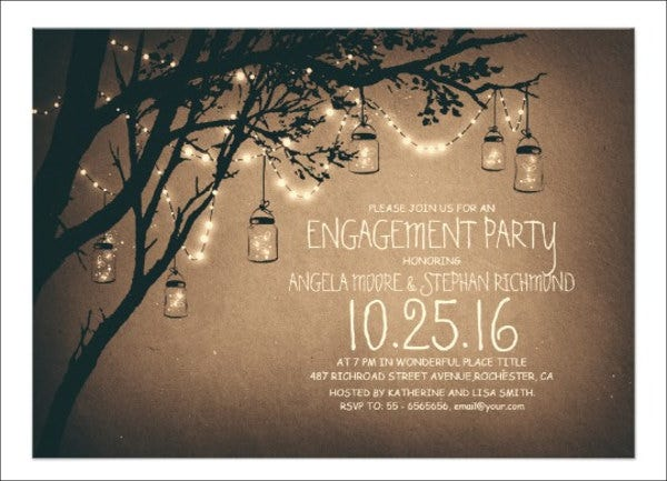 vintage engagement invitation banner