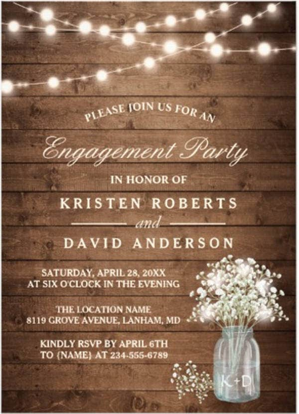 rustic engagement invitation banner