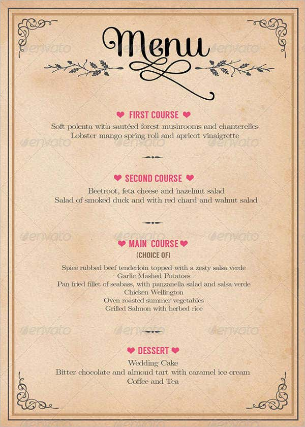 menu for party