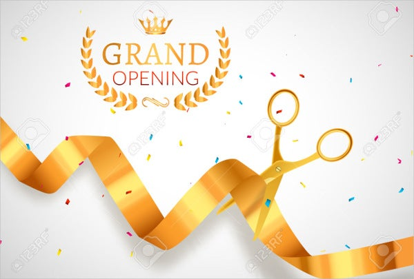 grand opening golden invitation banner