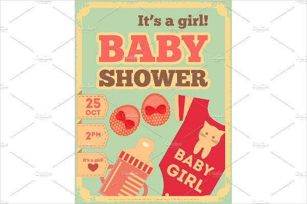 retro baby shower invitation postcard