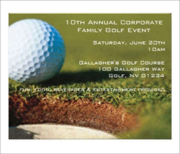 8  golf event invitations