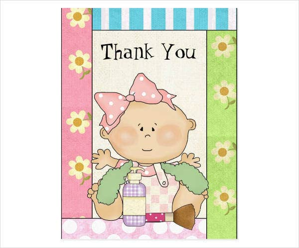 thank you baby shower invitation postcard