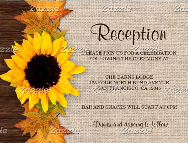 Wedding Reception Invitation Postcard