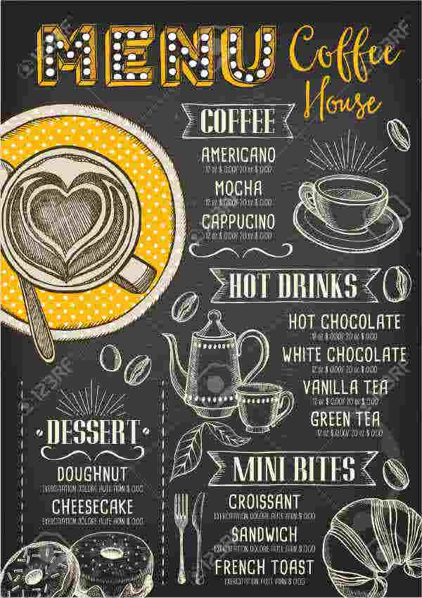 Tea and Coffee Party Menu Template