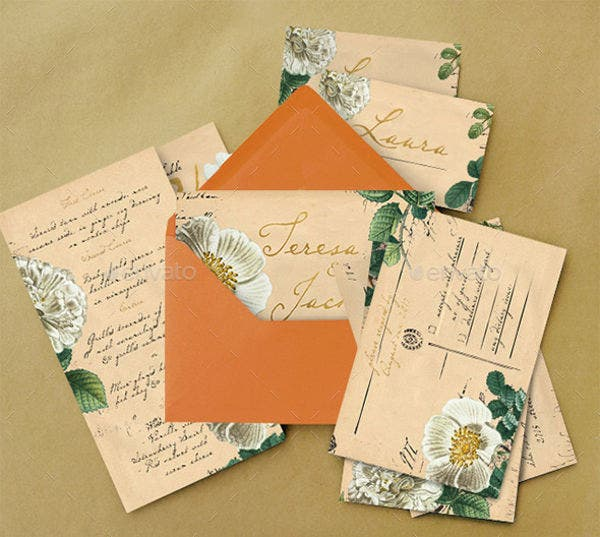 Vintage Wedding Invitation Postcard