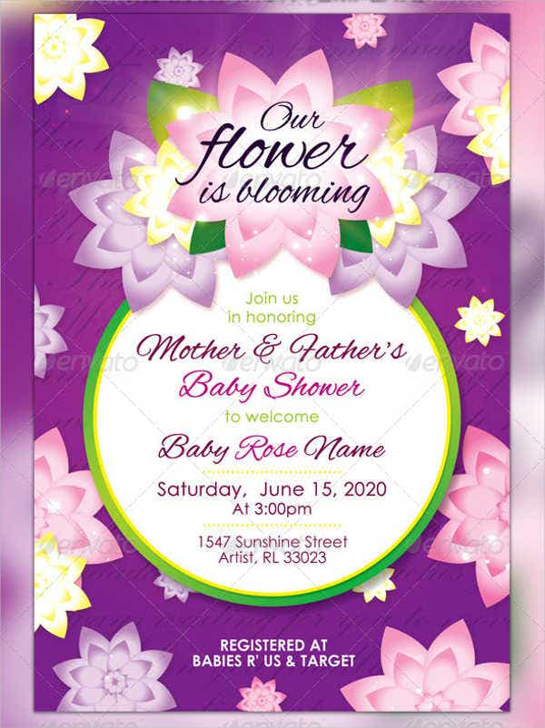 baby shower floral wreath invitation postcard
