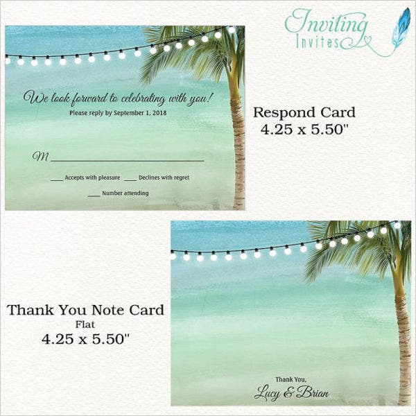 Beach Wedding Invitation Postcard