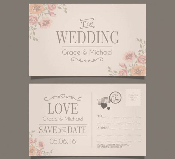 Free Printable Wedding Invitation Postcard