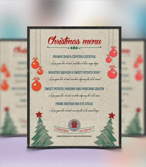 Christmas House Party Menu Template