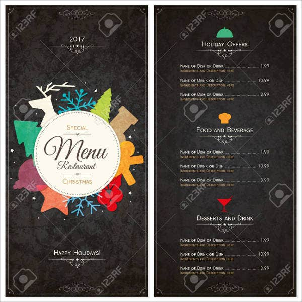 Holiday House Party Menu Design