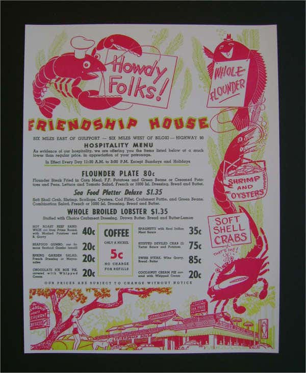 Vintage House Party Menu Design