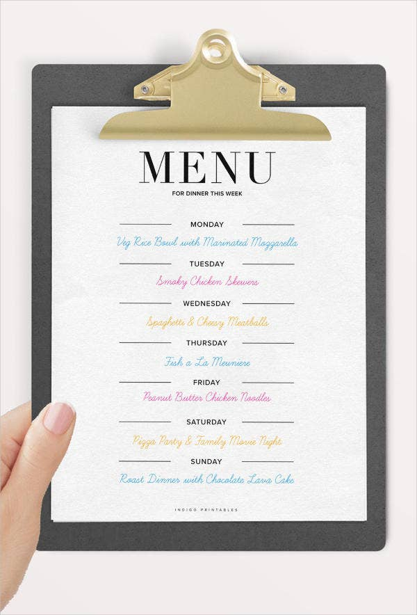 weekly-dinner-party-menu-template