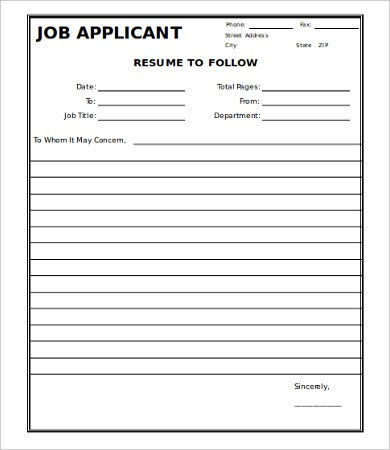 Job Application Fax Cover Template