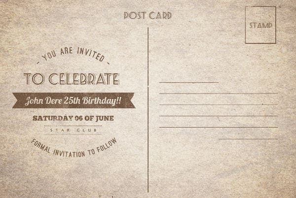 8 best birthday invitation postcards designs templates free vintage birthday invitation postcard stopboris