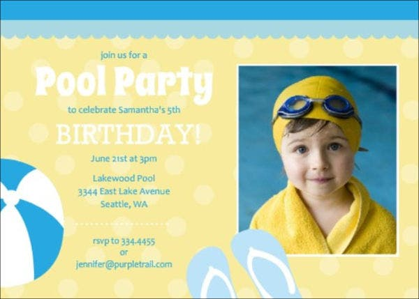 pool party birthday menu template