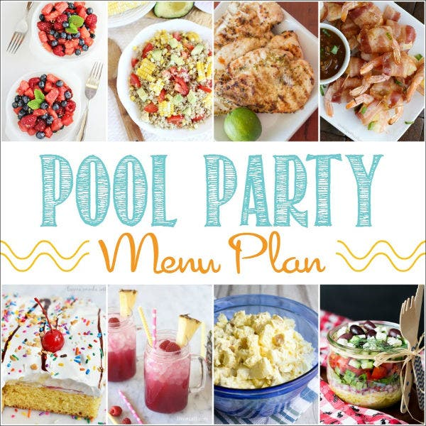 pool party catering menu template