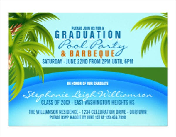 graduation pool party menu template