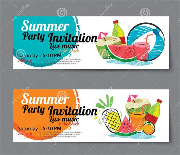 summer pool party menu template