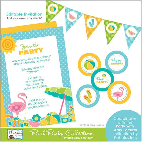 free printable pool party menu template