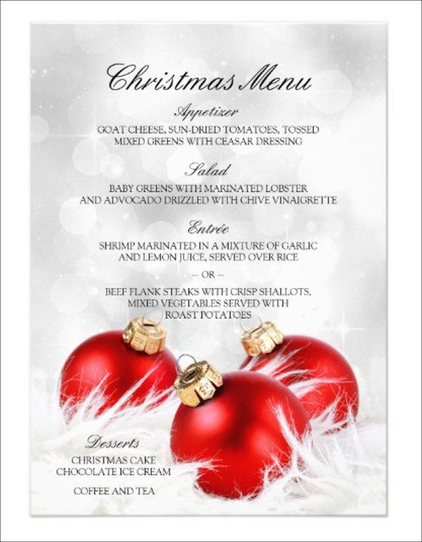 christmas holiday party menu template
