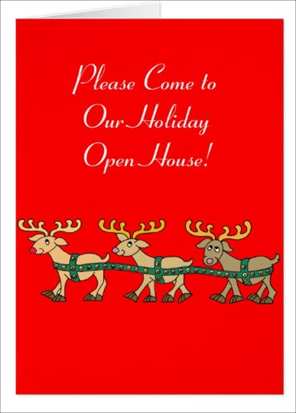 holiday open house party menu design