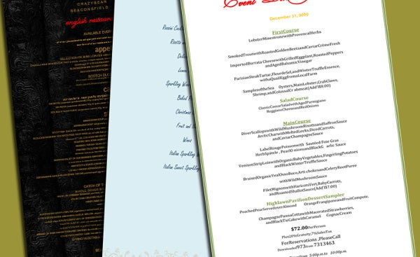 free printable holiday party menu template