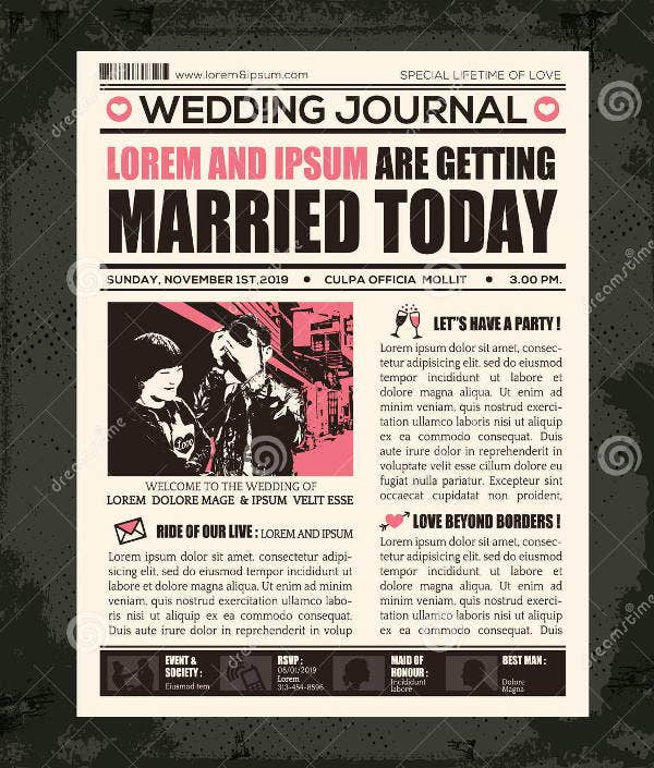 Wedding newspaper templates 7 word pdf psd indesign format wedding announcement newspaper template pronofoot35fo Gallery