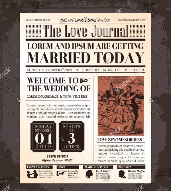 vintage wedding newspaper template