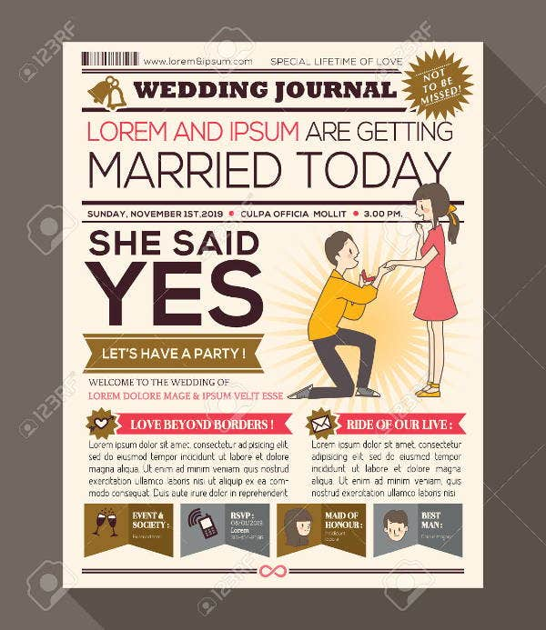 wedding thank you newspaper template