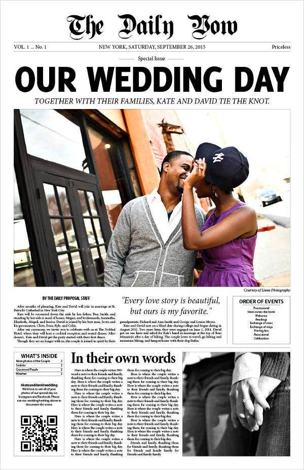 personalized wedding newspaper template